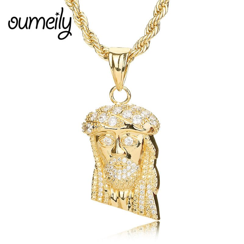 Oumeily gold color jesus piece necklaces pendant chain trendy new oumeily gold color jesus piece necklaces pendant chain trendy new men jewelry jesus women figure necklace aloadofball Choice Image