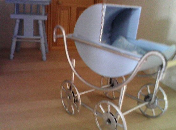 Dolls house pram Baby Carriage Miniature door SmallthingsbyAmanda