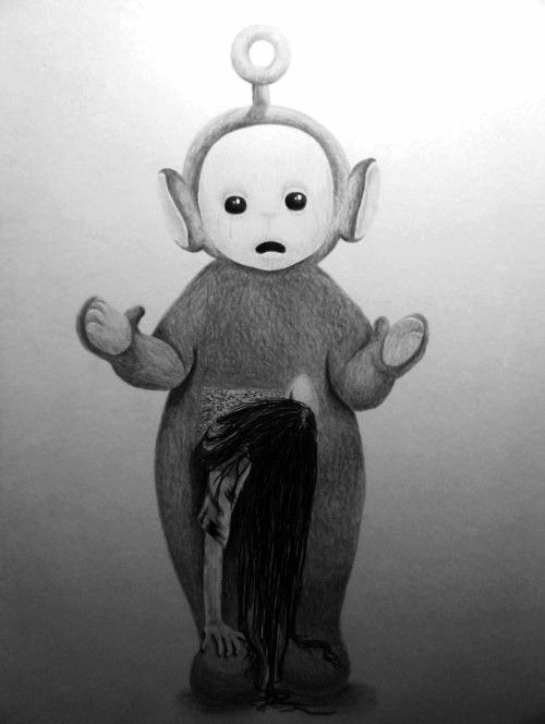 Teletubbies Samara Kanihastratti Pinterest Samara - Teletubbies in black and white is terrifying