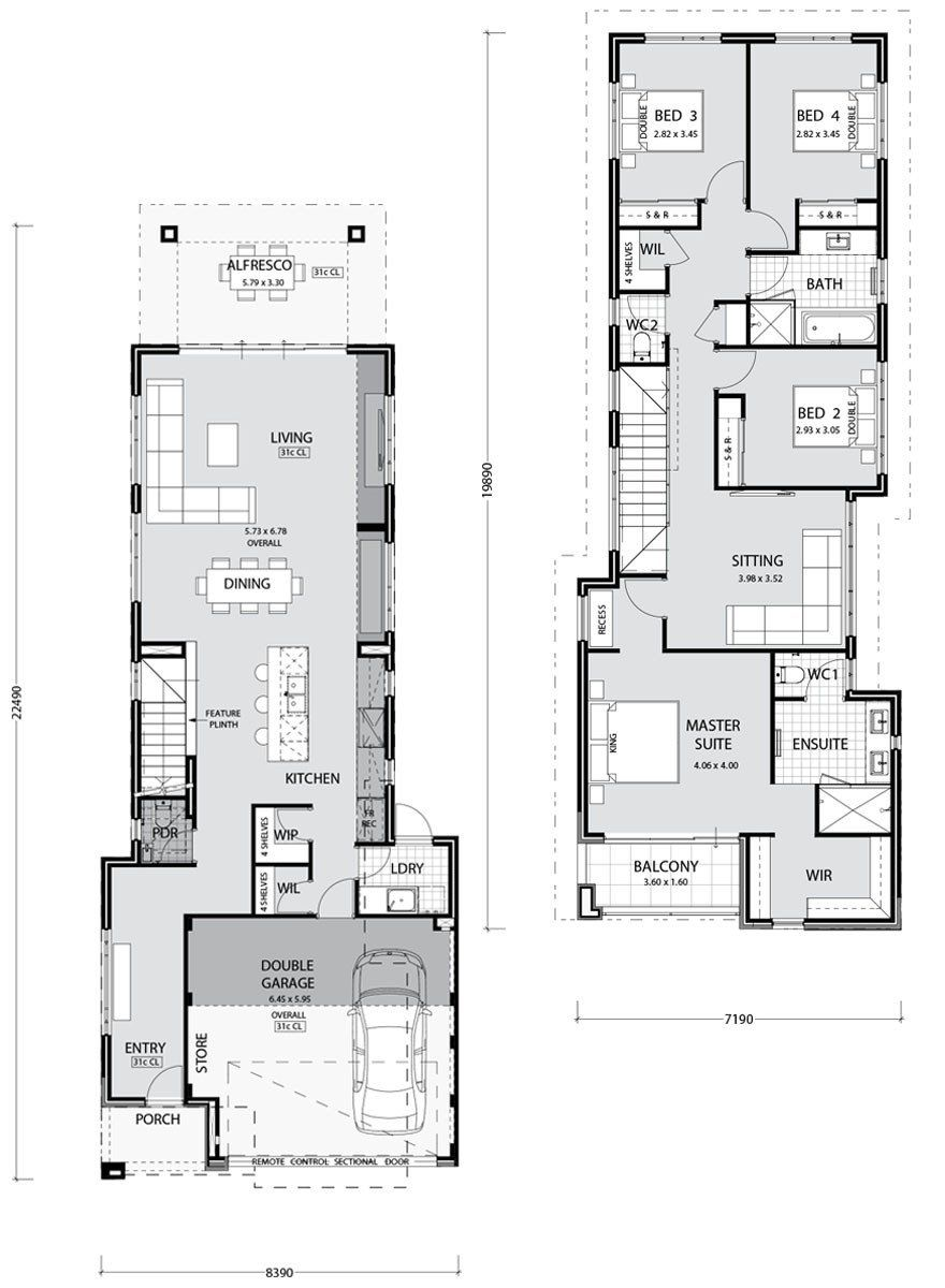 Modern House Designs For Small Blocks Two Storey Home Builders Perth Narrow Lot House Plans House Plans Australia Narrow House Plans