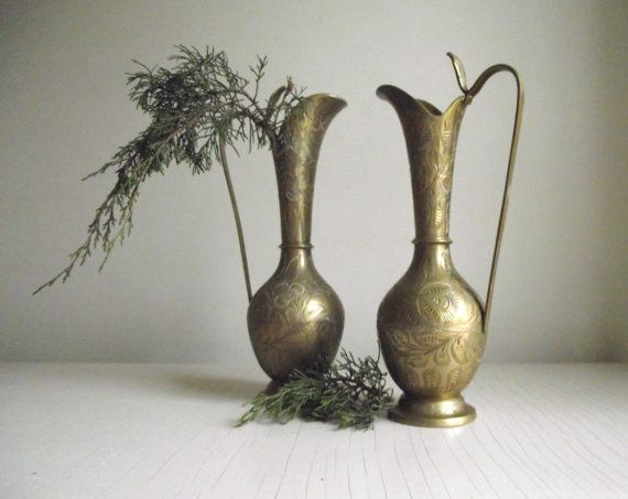 Brass Pitchers Vases Pair Of Etched India Brass By Gazaboo