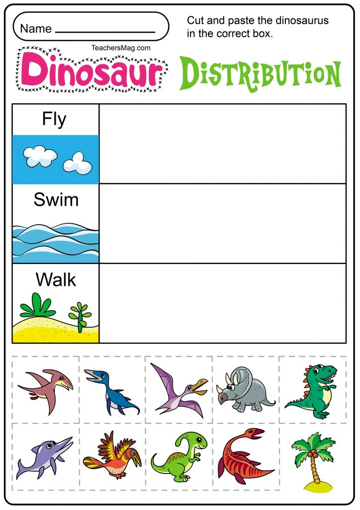 Free Printable Dinosaur Worksheets TeachersMag.com Dinosaur Worksheets,  Dinosaur Activities Preschool, Dinosaur Theme Preschool