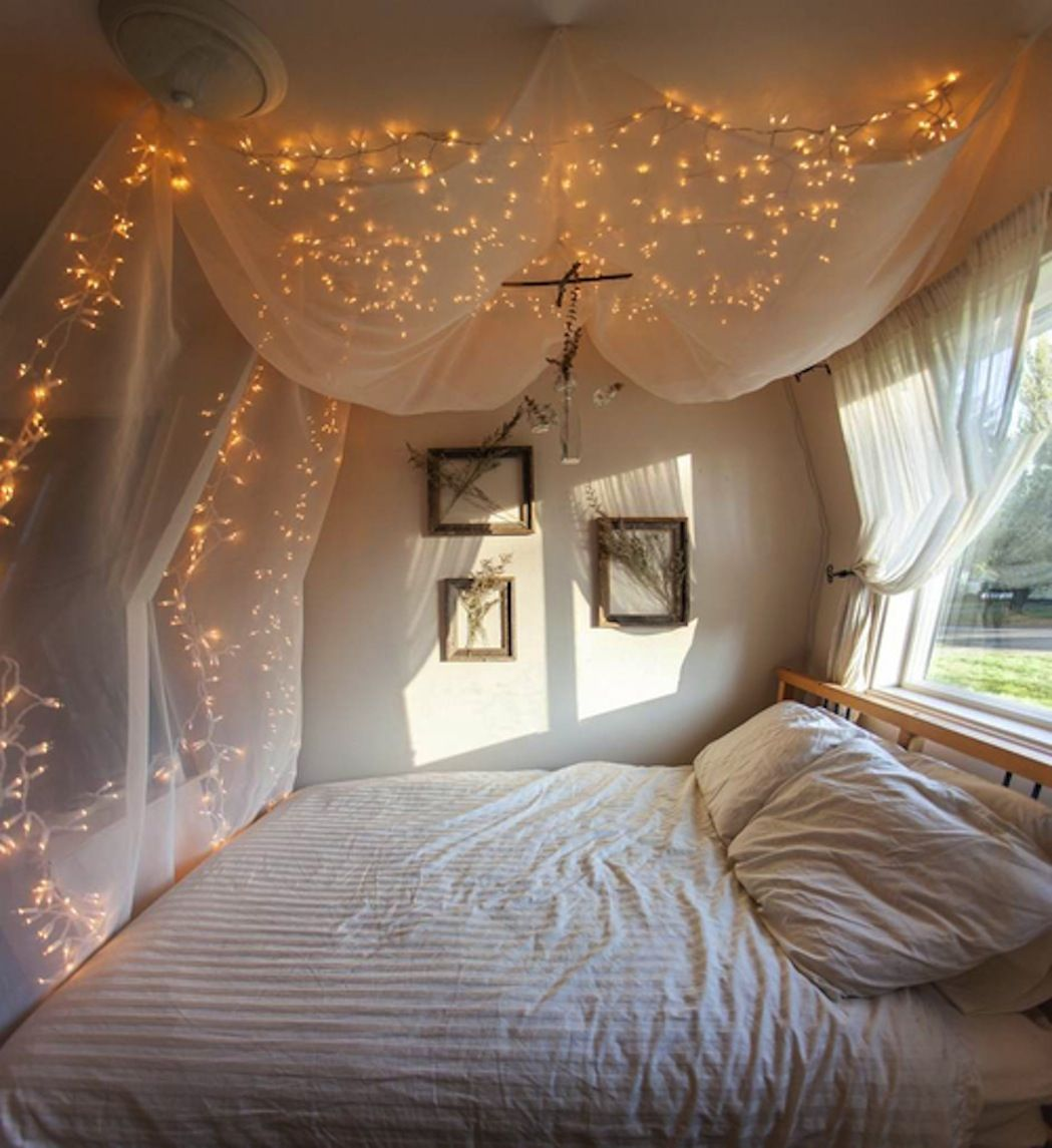 Wonderful Bed Canopy Curtains Diy With Beautiful Lights And Simple Pillows  Also Comportable Pillows