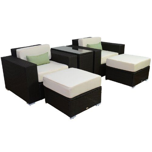 Outsunny 5pc Outdoor PE Rattan Wicker Lounge Chair Patio Furniture ...