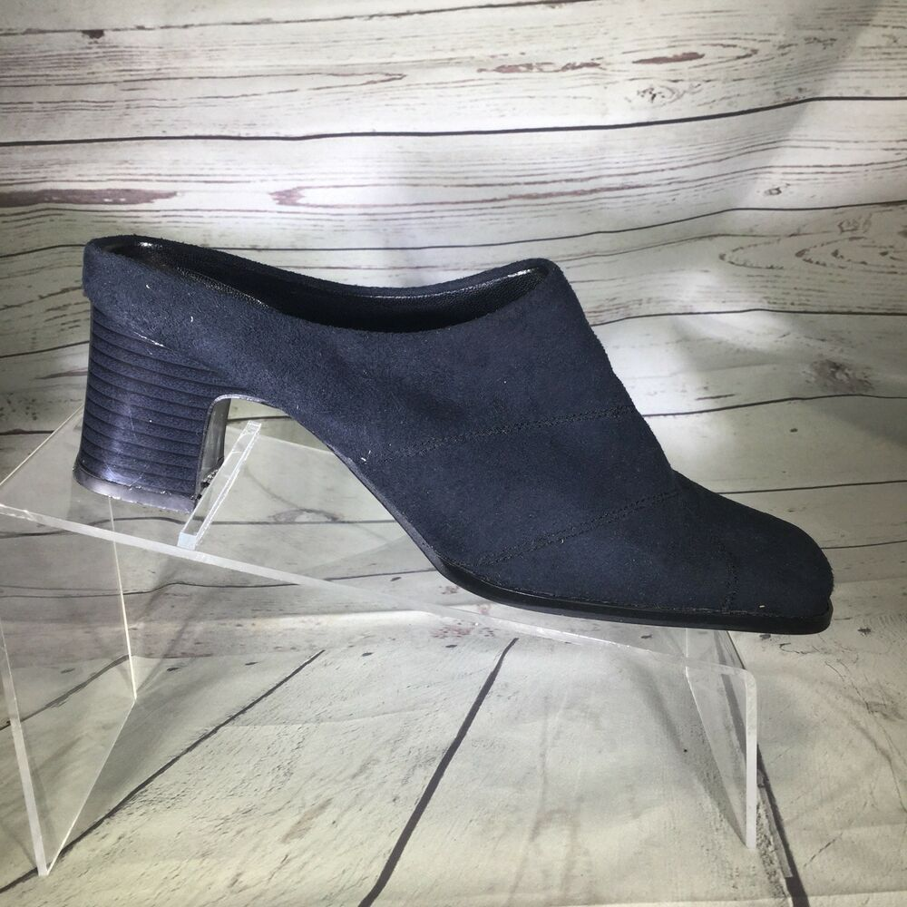 bc4ab1bcb090 Australian Womens Mules Slides Heels Size 37 US Size 6.5 Suede Leather Navy  Blue  Australian  Mulesclogs  Casual