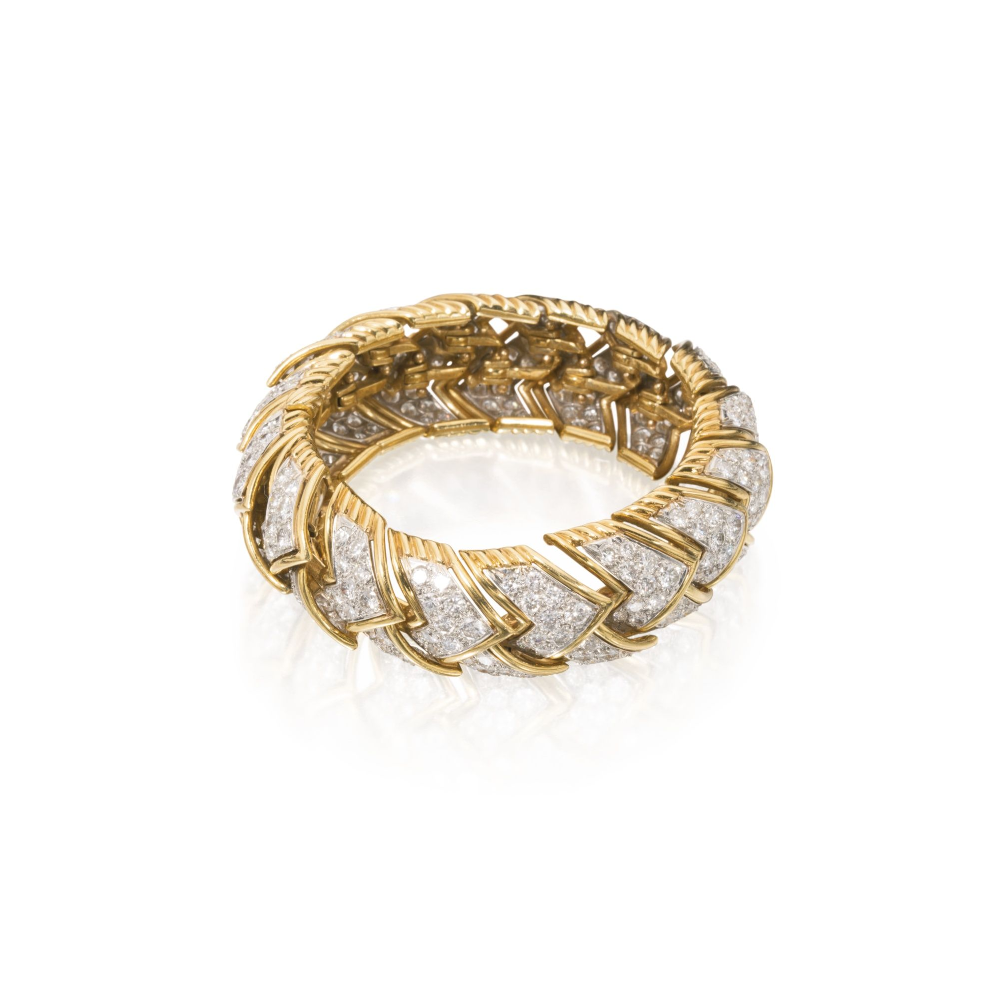 73e4f99be9f 18 Karat Gold, Platinum and Diamond Bracelet, David Webb Composed of  overlapping chevron-shaped links, set with round diamonds, gross weight  approximately ...