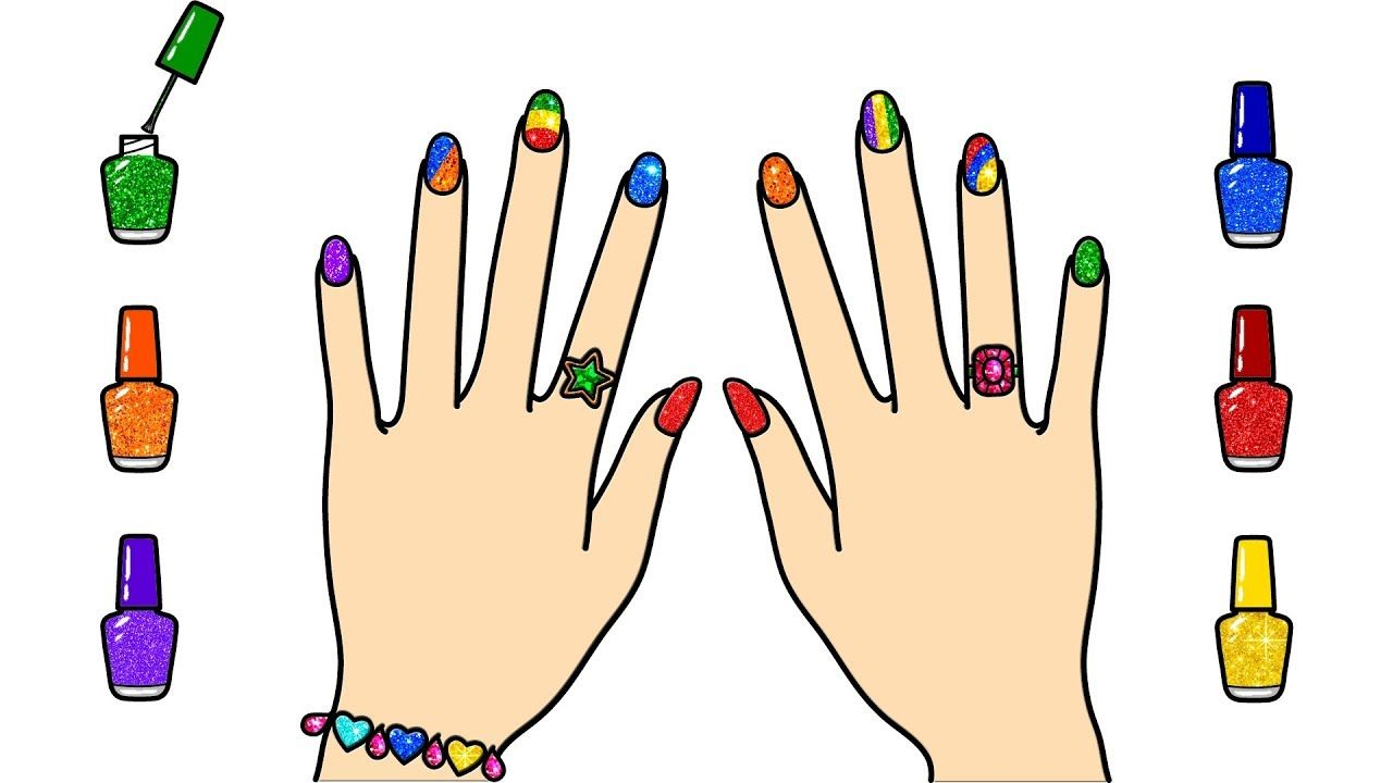 Glitter Nail Polish Drawing Easy And Beautiful Glitter Nail Polish Easy Drawings Learning To Draw For Kids Coloring For Kids