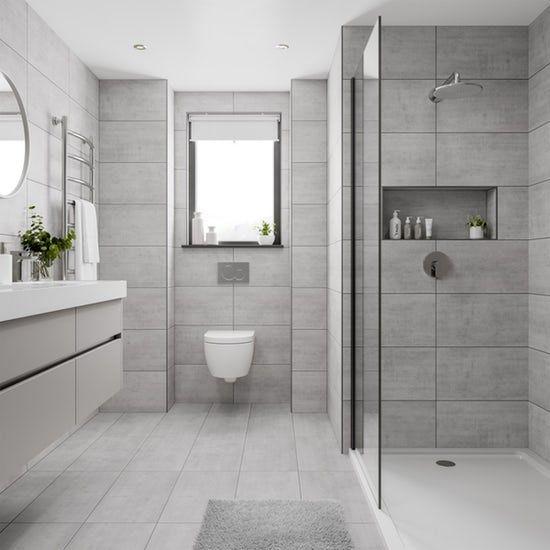 Shala Light Grey Stone Effect Flat Matt Wall And Floor Tile 300mm X 600mm Bathroom Trends Bathroom Interior Design Wall And Floor Tiles