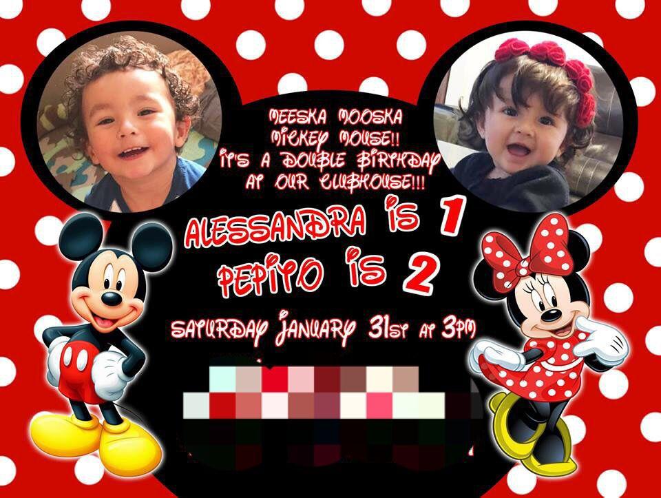 Custom Mickey And Minnie Double Birthday Invitations