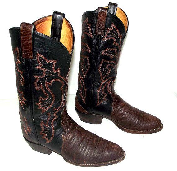 Broken In Exotic Tony Lama Black Cowboy boots