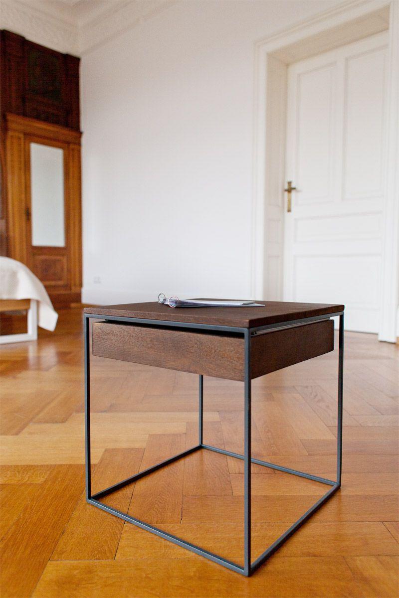 N51e12 Beistelltisch Aus Massivholz Eiche Und Stahl Edelstahlrahmen Oder Pulverbeschichtung Mit Einzigartiger Konstruktio Haus Deko Tisch Couchtisch Schwarz