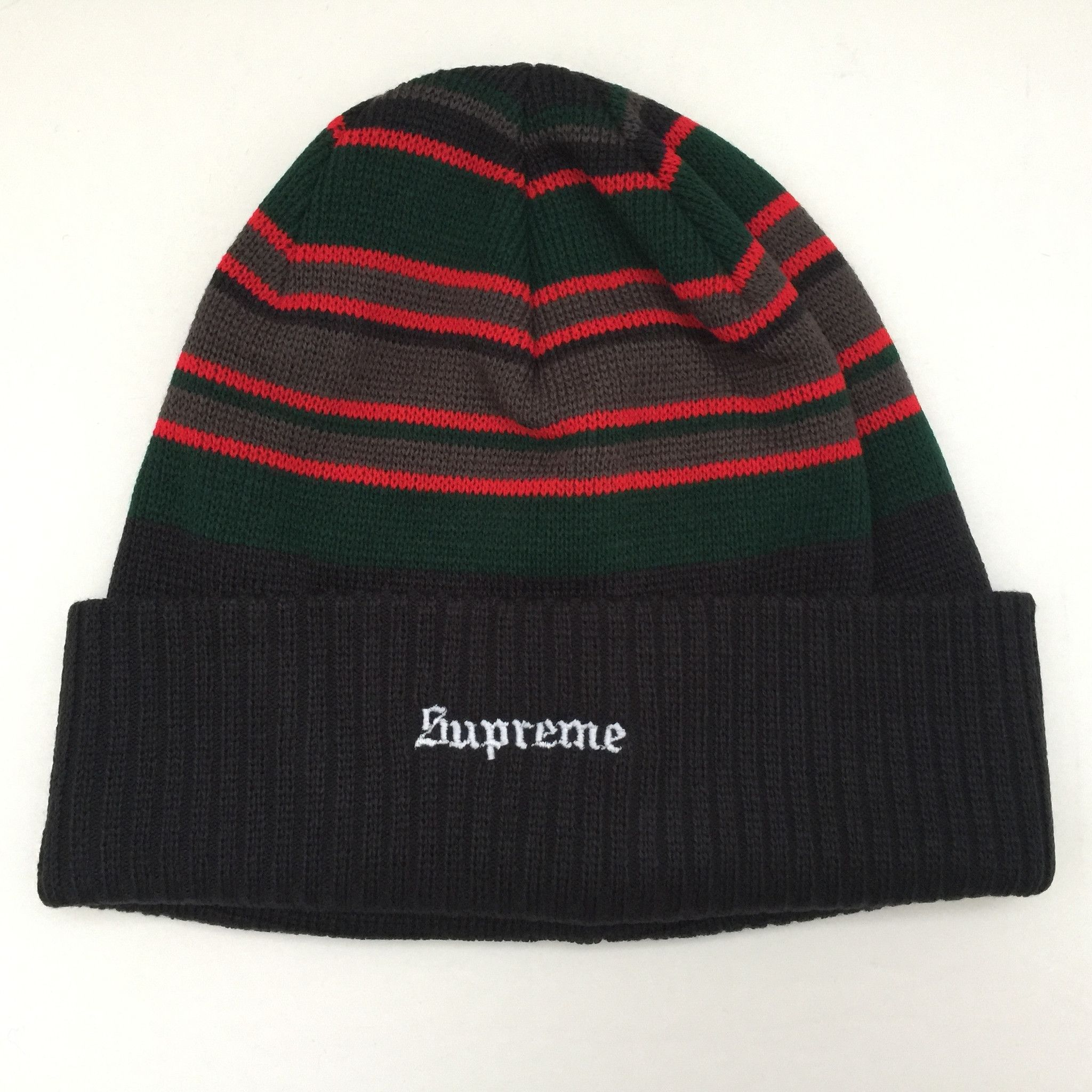 Supreme Beanie Multi Stripe Red Black FW16 Hat  1d285bd5ab9