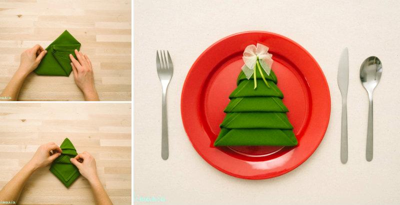 How to Make Christmas Tree Napkin Fold - DIY & Crafts - Handimania. - How To Make Christmas Tree Napkin Fold - DIY & Crafts - Handimania