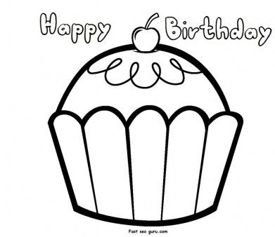 print out happy birthday muffin cupcake coloring pages fargelegge tegninger activities worksheets clipart color games online - Happy Birthday Coloring Page