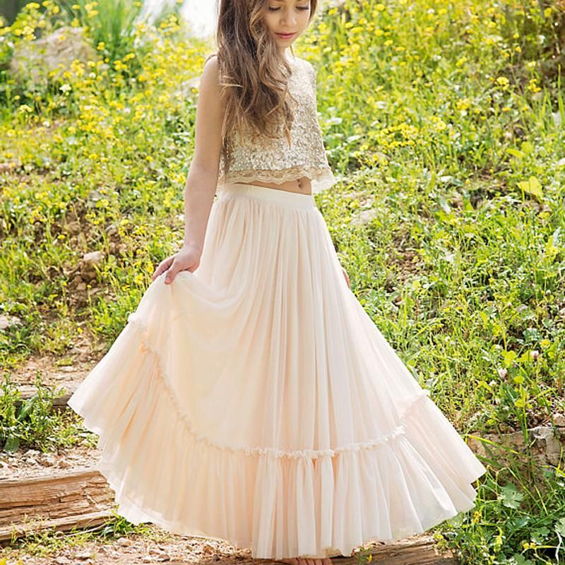 cb7c4beee 2 Pieces Sequin Top Blush Pink Chiffon Skirt Flower Girl Dresses, Juni –  SofieBridal