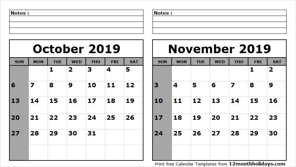 Blank Calendar October November 2019 | 2018 Calendar ...