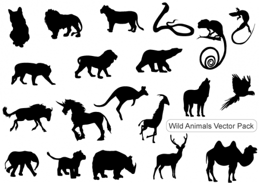 picture relating to Free Printable Forest Animal Silhouettes titled Wild Pets Silhouettes Cost-free Pack Vector - PDF - Cost-free