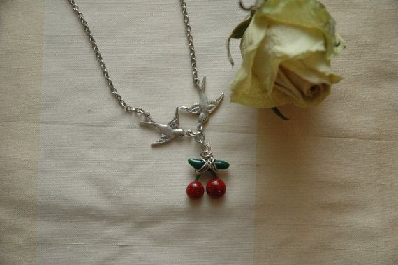 8ea2dba64 Red Cherry Necklace Sparrow Necklace Fused Glass by AmbientAtelier ...