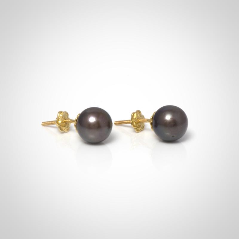 fd0cd59c5f56 Aros de perla negra y oro amarillo 18k