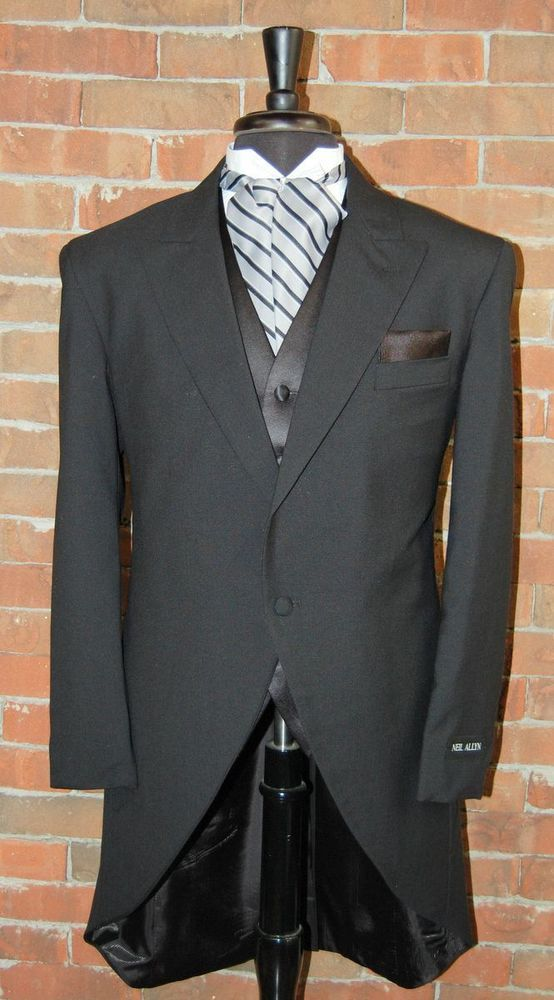 e5051da6b9a 36 L NEW SLIM FIT MENS BLACK WOOL CUTAWAY JACKET TUXEDO MORNING COAT  #MorningSuits $50