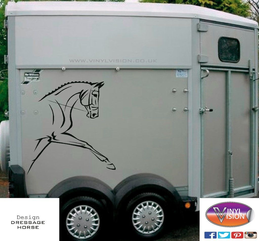 Dressage horse head for car, lorry, trailer, horsebox decal