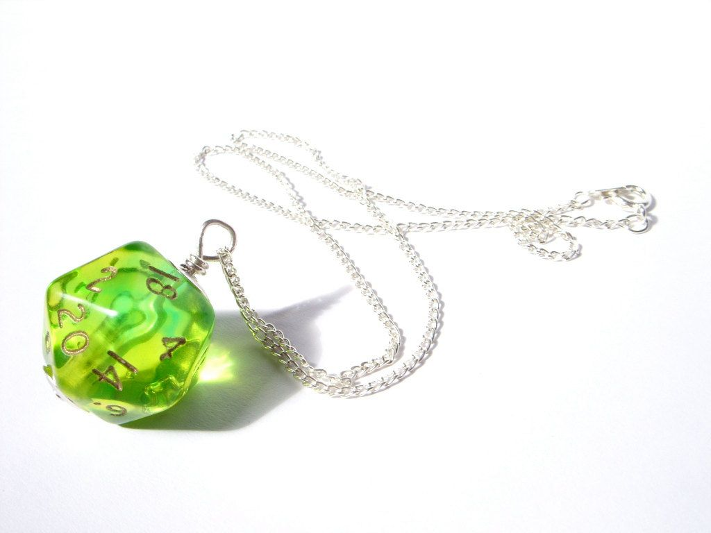 D20 dice pedant neon green yellow lime transparent geek gamer DnD role playing RPG dice jewelry dice necklace translucent. $20.00, via Etsy.