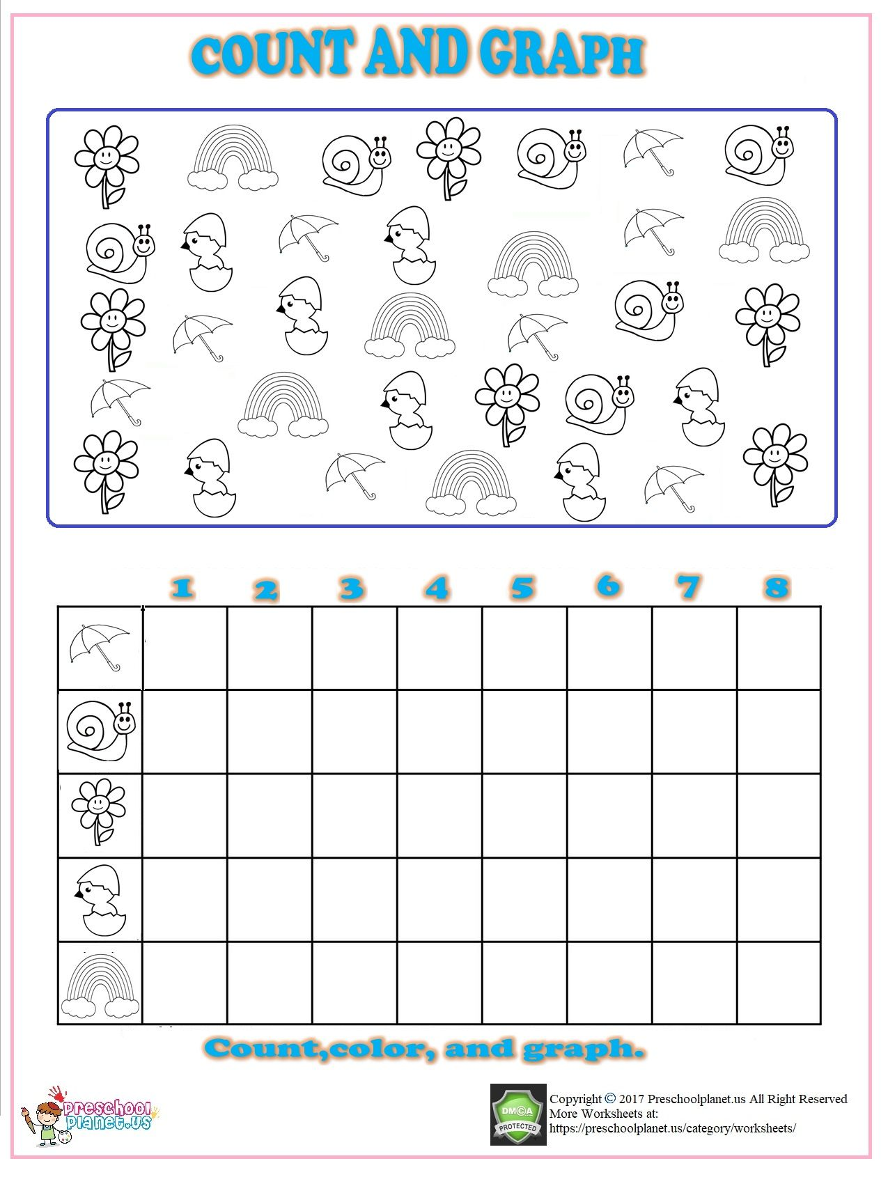 Spring Count Graph Worksheet For Kindergarten