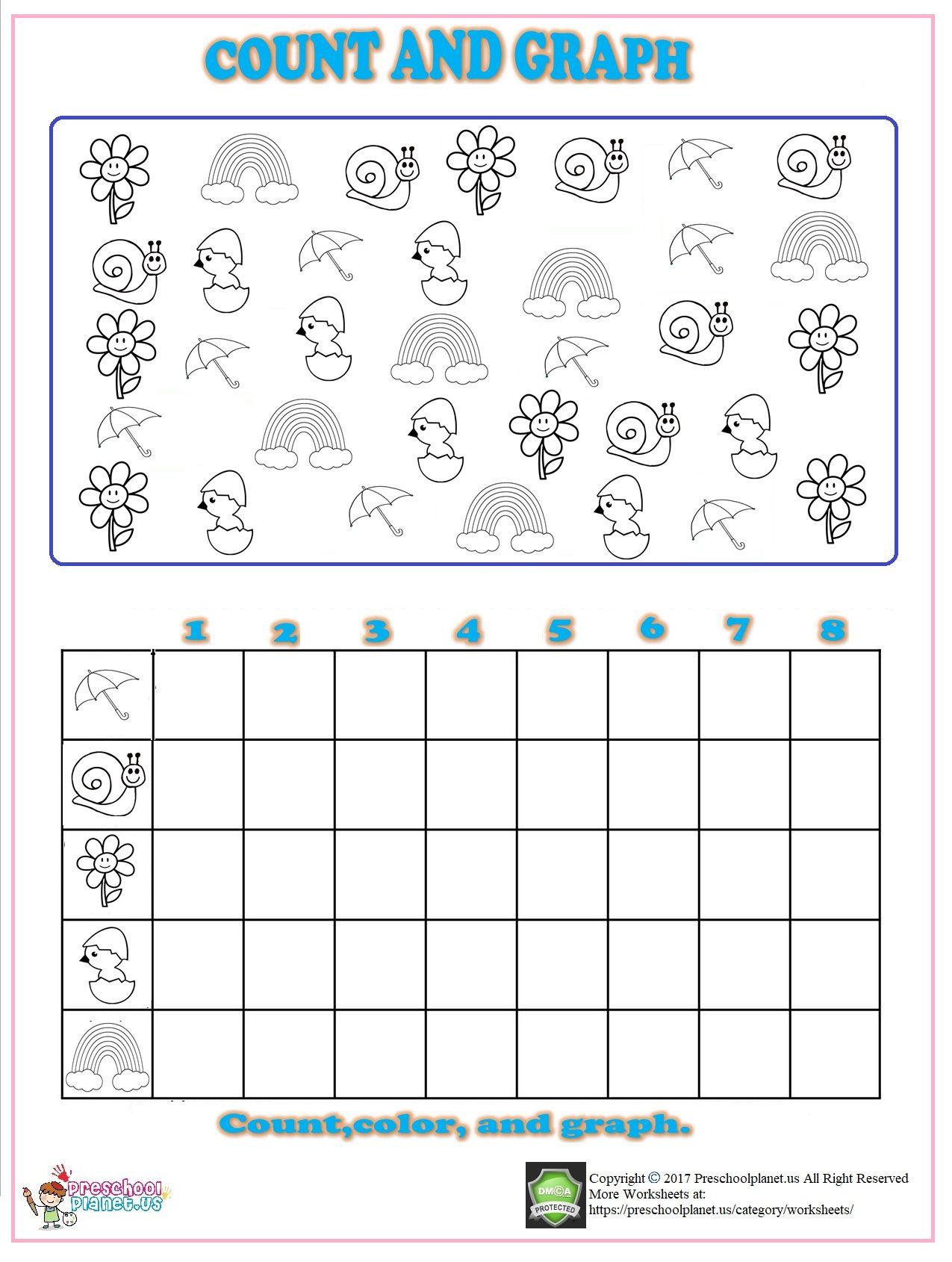Spring Count Graph Worksheet For Kindergarten Anaokulu Matematik Okuma [ 1690 x 1275 Pixel ]