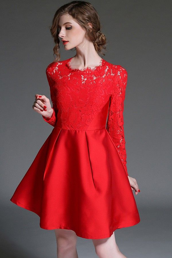 Red Crochet Lace Pleated A Line Dress | Crochet lace, Long sleeve ...