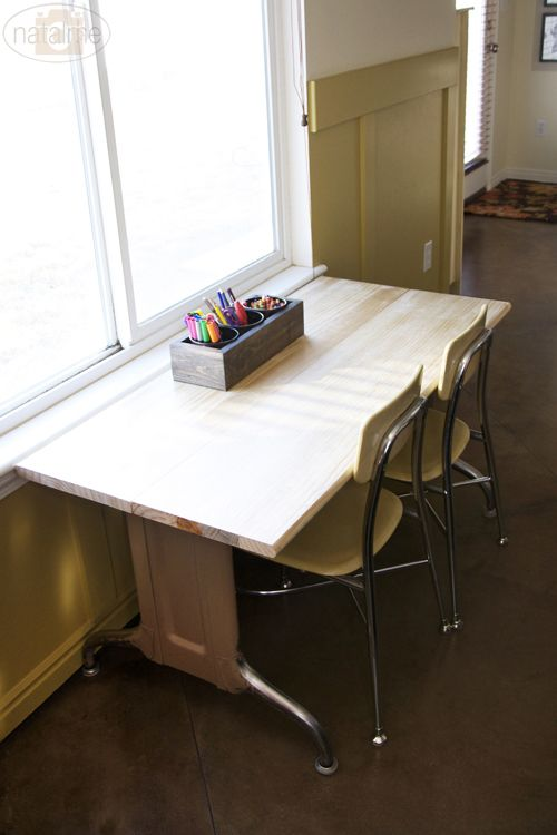 Kids Art Table Made From Stair Treads And Vintage Industrial Table Legs