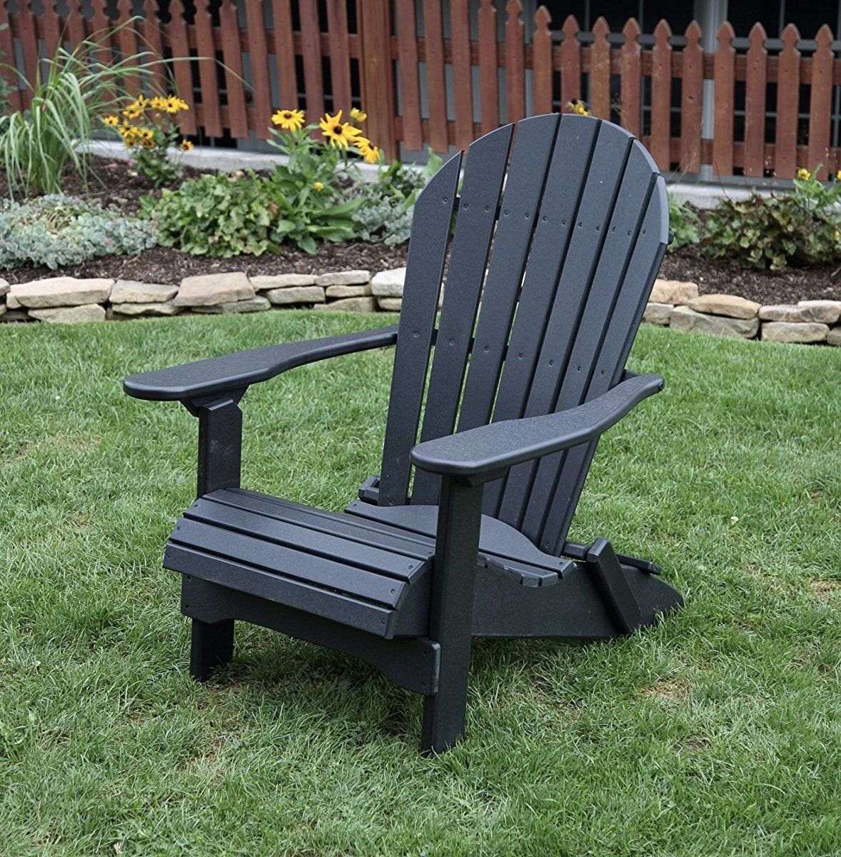 BLACK-POLY LUMBER Folding Adirondack Chair with Rolled Seating Heavy Duty EVERLASTING Lifetime PolyTuf HDPE & BLACK-POLY LUMBER Folding Adirondack Chair with Rolled Seating Heavy ...