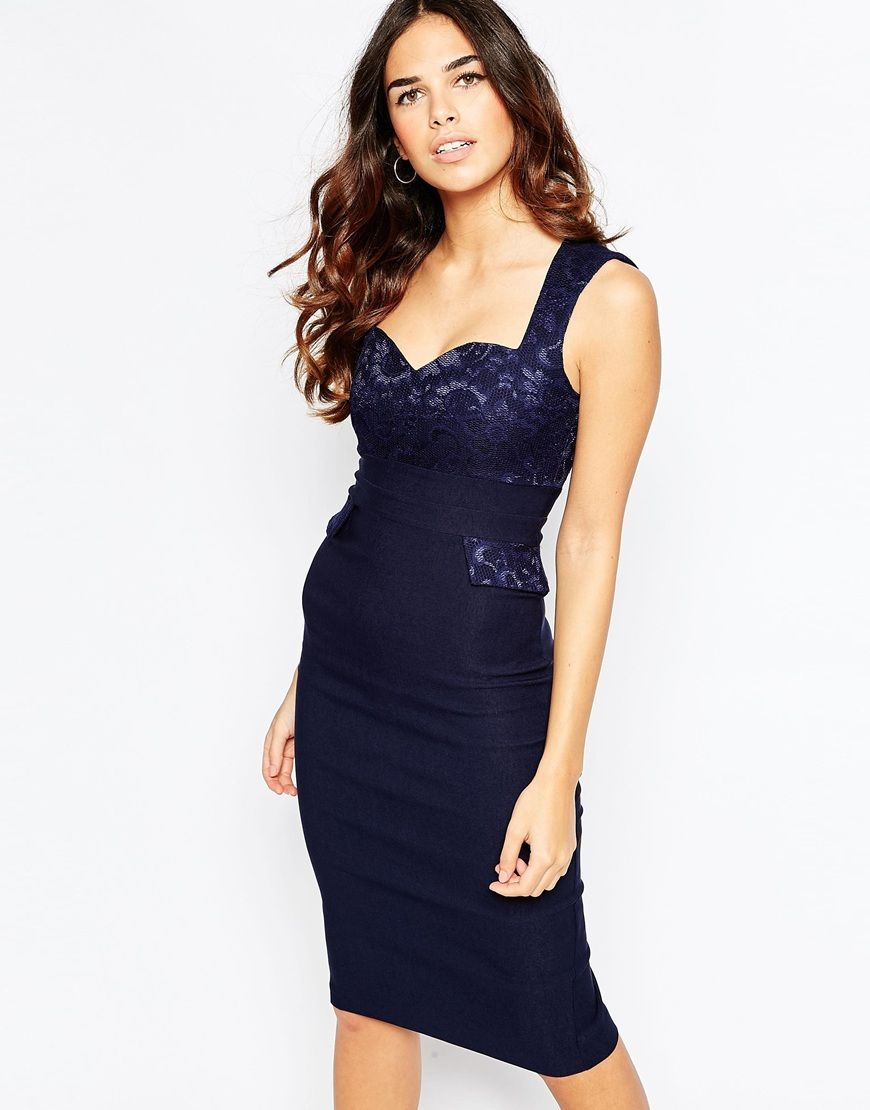 Vesper Taylor Midi Dress With Lace Sweetheart Neckline And Pocket Detail