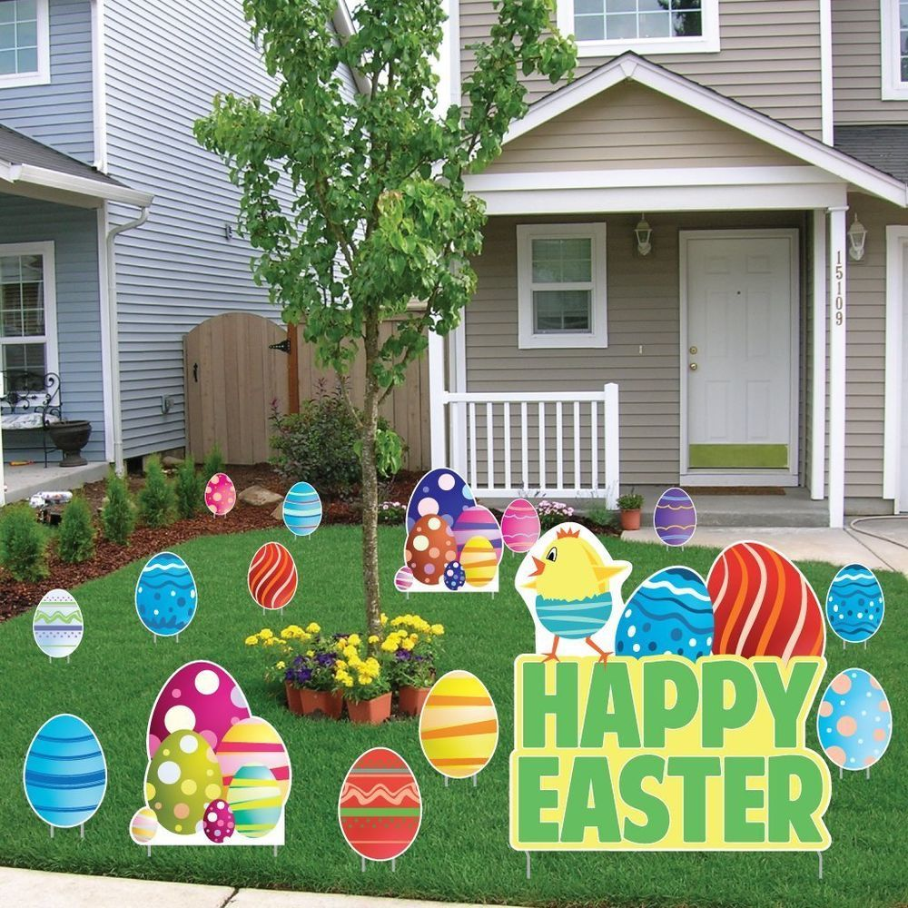Outdoor Easter Egg Chick Chicken Sign Yard Art Lawn Garden Display ...