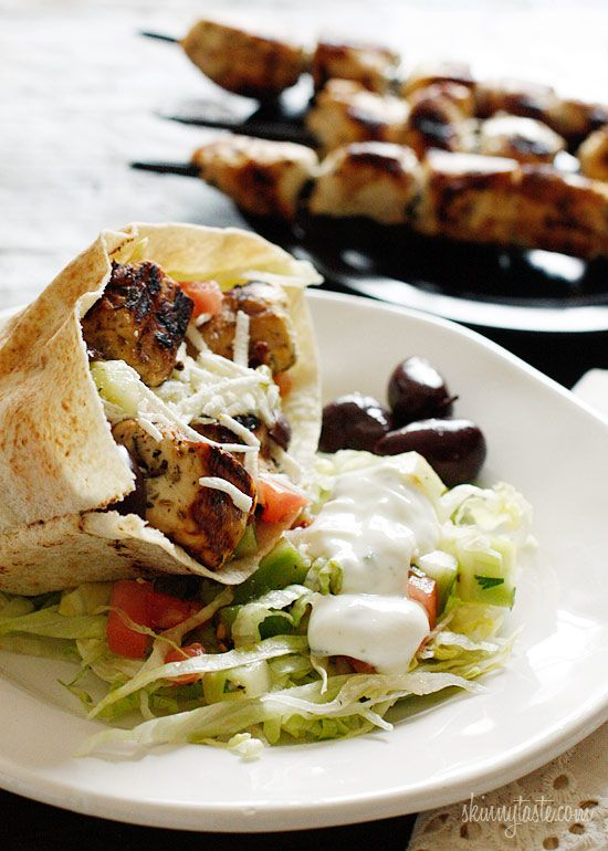 Mediterranean Chicken Kebab by skinnytaste: Serve as a salad over lettuce with feta, tomatoes, cucumbers, black olives, green peppers, red onions, parsley, dill with an olive oil/fresh lemon juice dressing for a high protein, low fat, low carb, gluten free meal or in a pita with skinny tzatziki sauce! Here is the recipe http://tinyurl.com/6te6vgk  #Chicken_Kebab_Salad #skinnytaste
