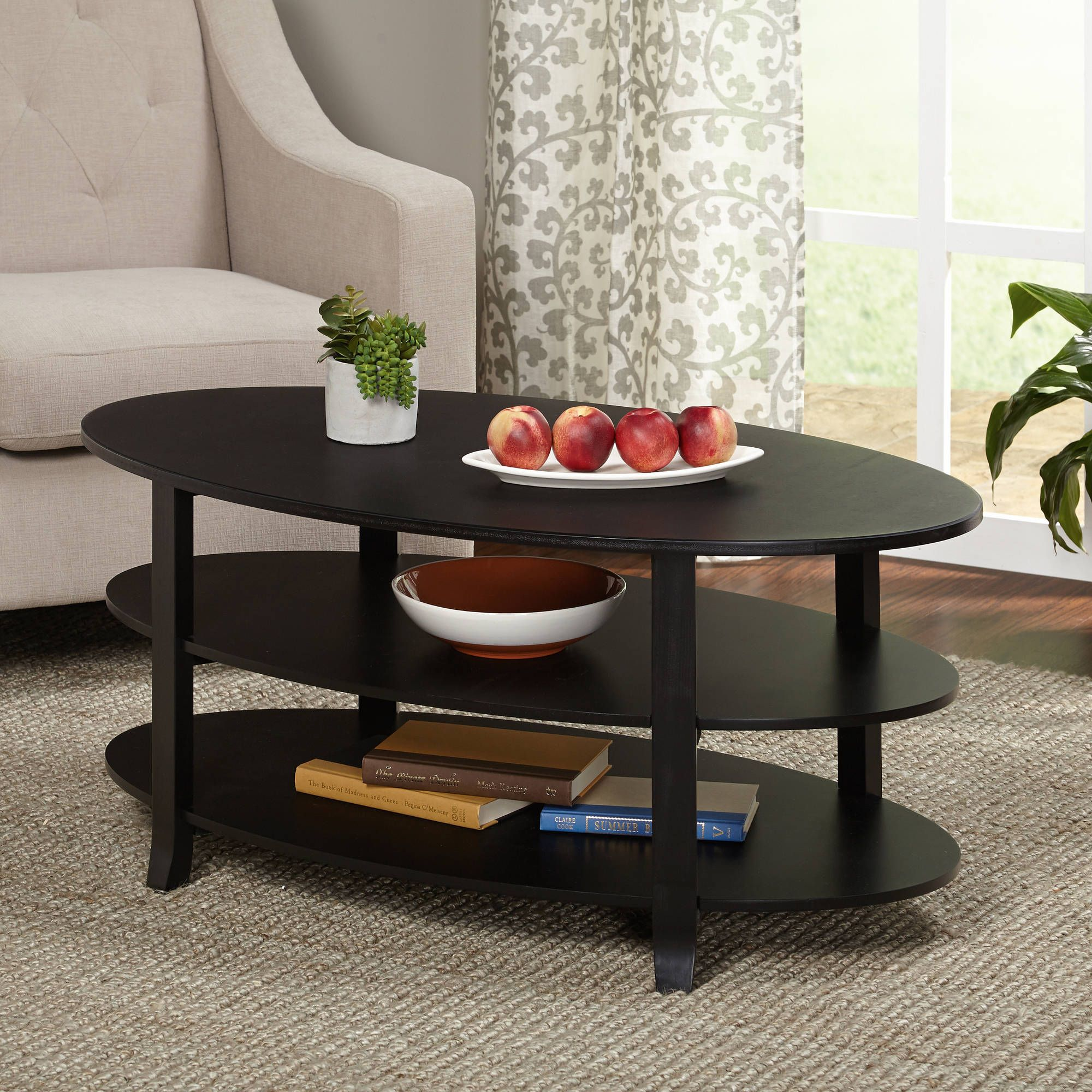 real wood coffee table with storage