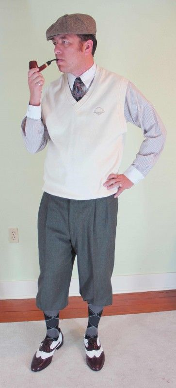 294061649f 6 Easy 1920s Mens Costumes Ideas. # 5 is the Most Fun to Wear. Golfing  costume. Pullover vest over shirt and tie, plus four or knicker pants,  argyle socks, ...