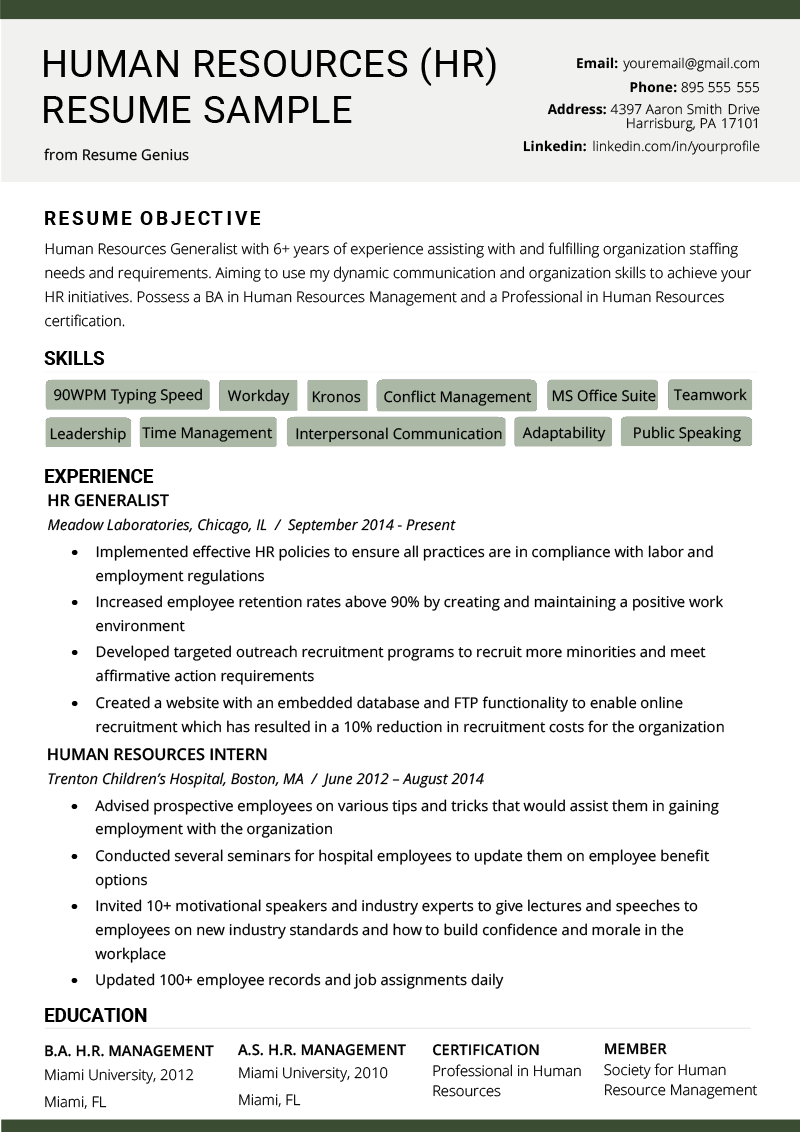 Human Resources (HR) Resume Sample & Writing Tips RG