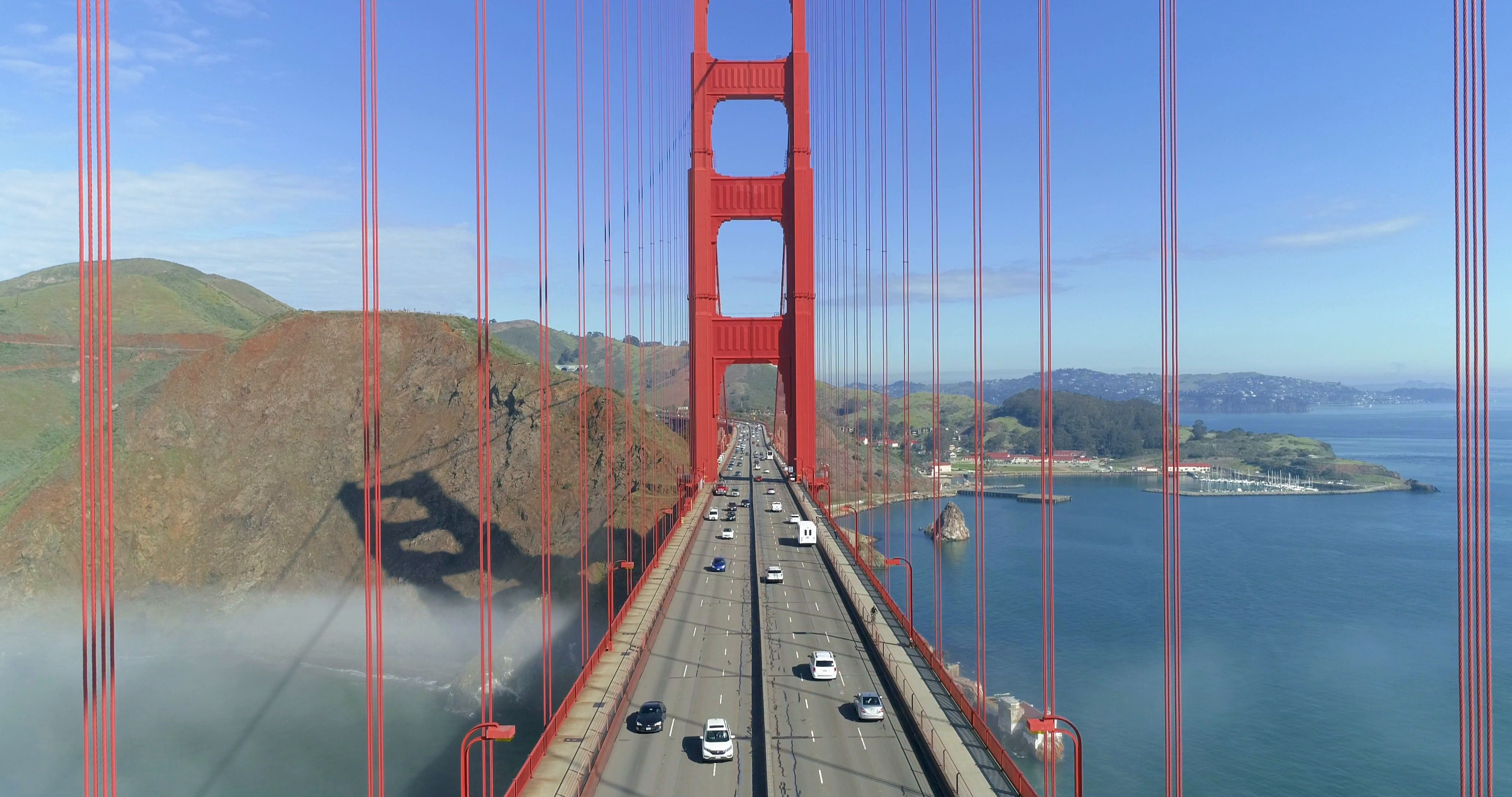 Aerial View Of The Golden Gate Bridge In Fog San Francisco Drone California Stock Footage Gate Bridge Fog Aerial Golden Gate Bridge Golden Gate Aerial View