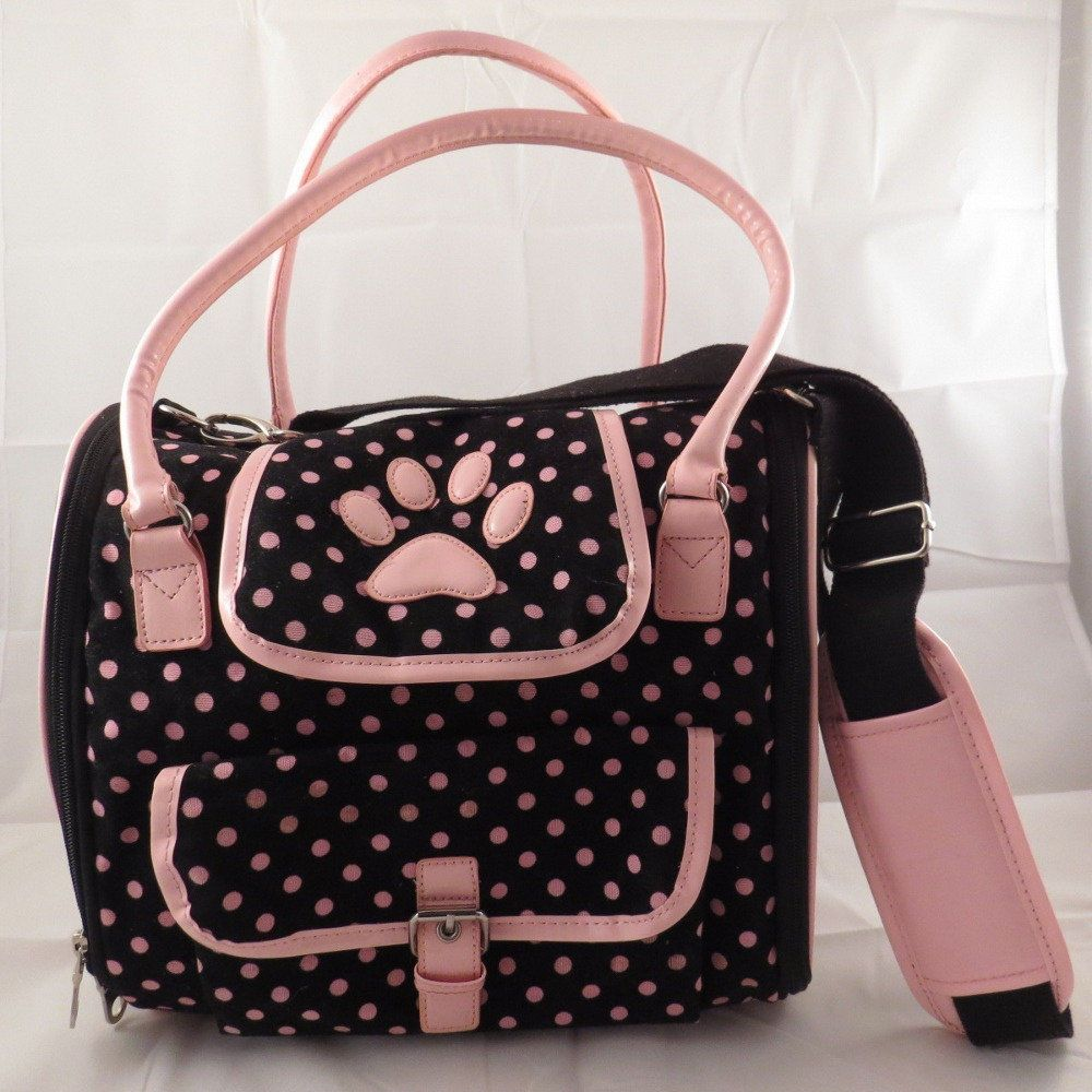 Zack And Zoey Black With Pink Polka Dot Small Dog Carrier Purse