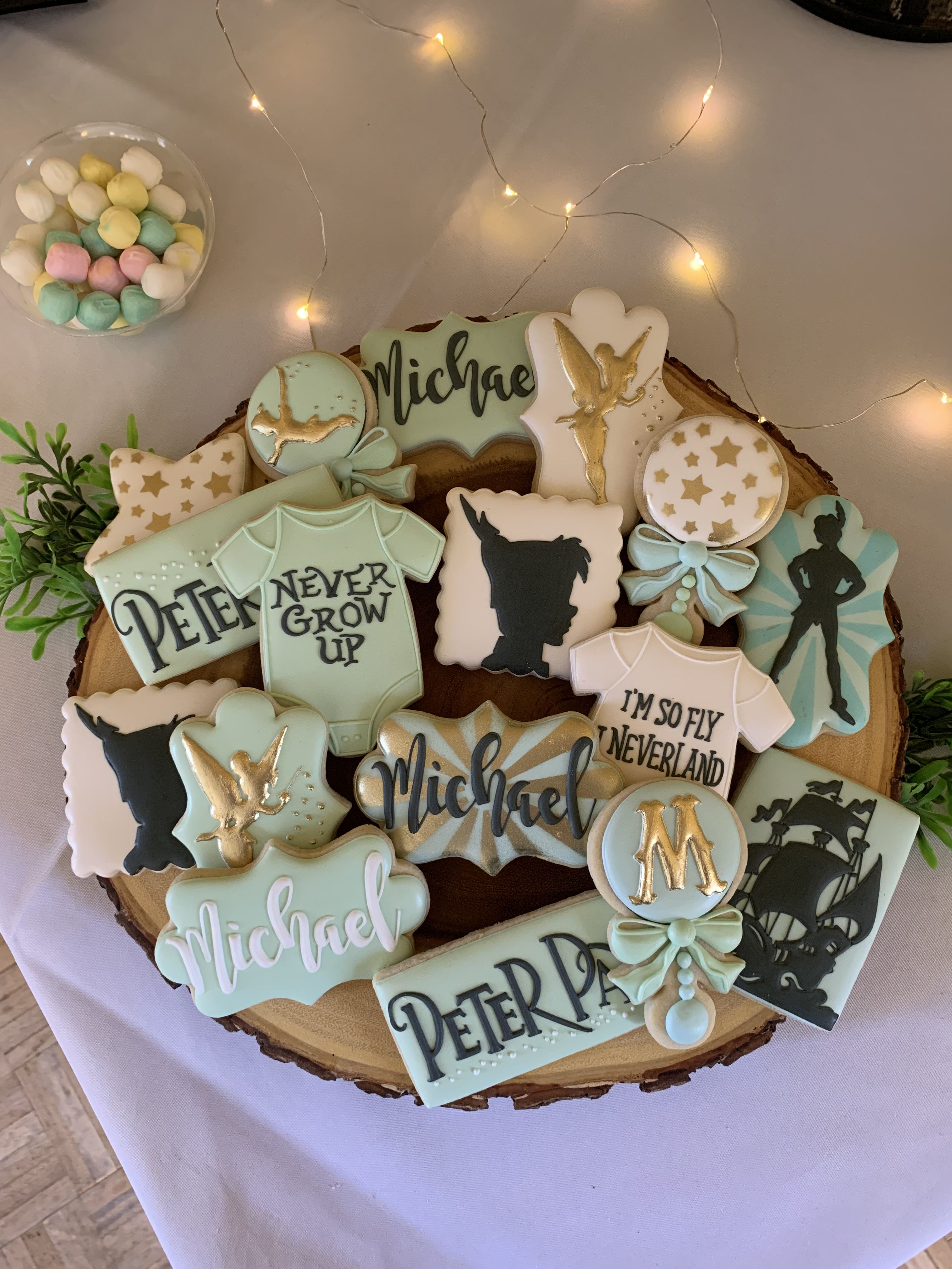 Sugar Cookies Neverland Peter Pan Lost Boys Theme Baby Boy 1st Birthday Party Fun Baby Shower Games Baby Boy 1st Birthday