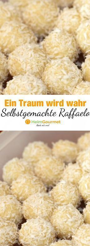 Rezept für himmlische RAFFELLO-PRALINEN mit weißer Schokolade und knackigem Mandel-Kern!