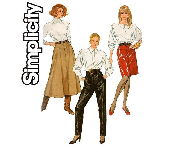 80s Womens Slim or Flared Skirt Leather Pants Pattern Simplicity ...
