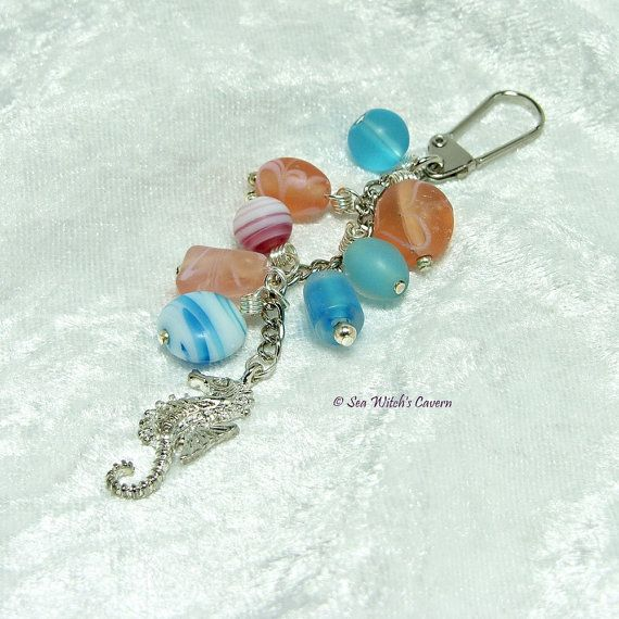 Handbag Charm with Seahorse charm Blue and by SeaWitchsCavern