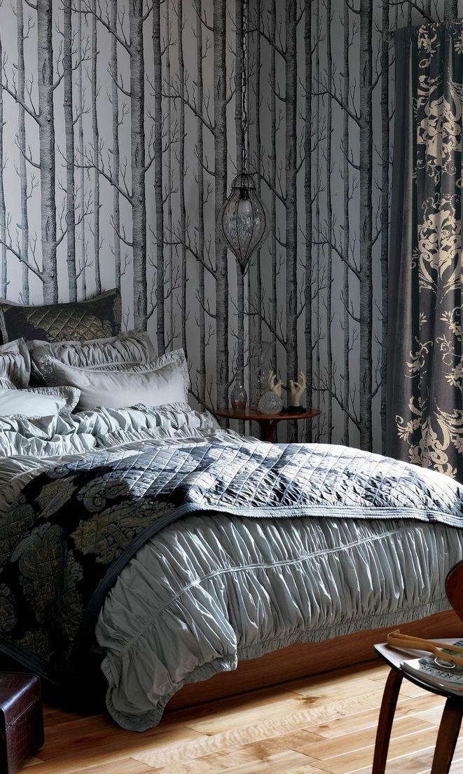Interior Design - Anthropologie Home - Small Apartment Decor - Cool Furniture - Forest Wallpaper Bedroom