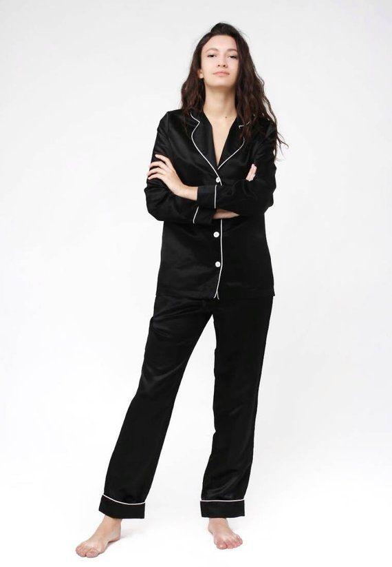 11578d8af7 Black silk cotton pajamas Pajama suit Silk pajama set Luxury sleepwear  Women s pajamas Black pyjamas