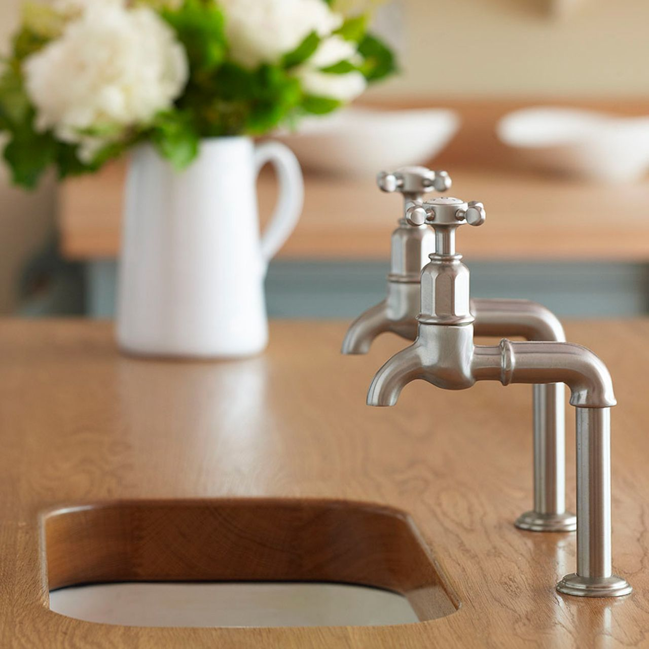 Mayan deck mounted taps with crosshead handles | Perrin and Rowe ...