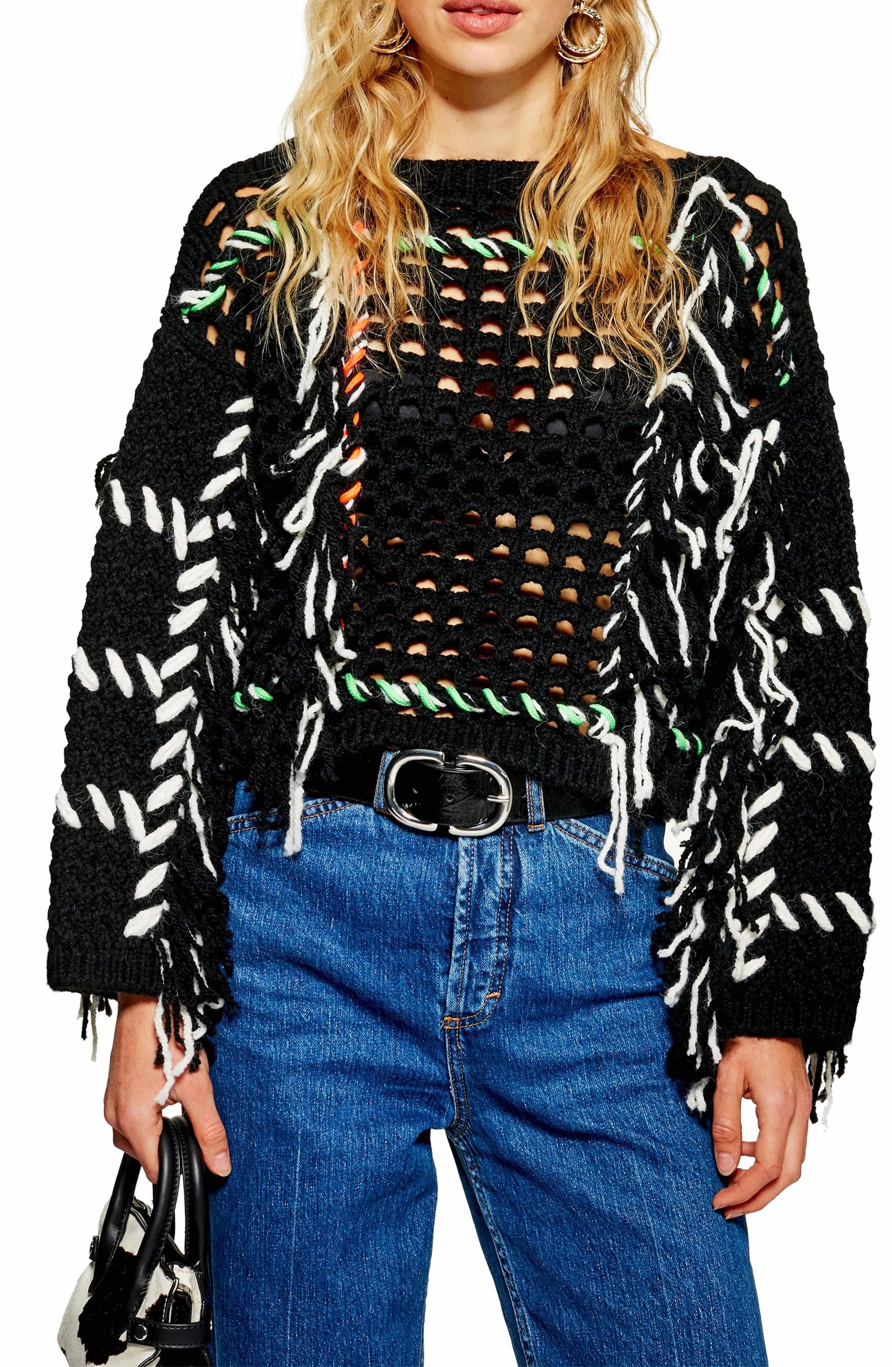 271ce63097d Fringe Crochet Sweater