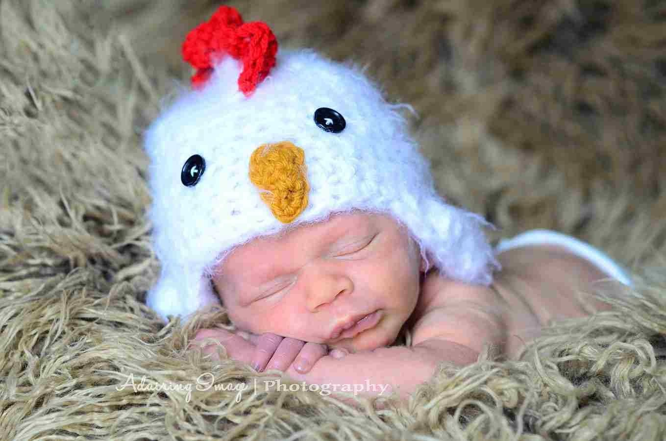 Warm Newborn 3m 6m Chick Chicken Hat Soft Rooster Fuzzy Photo Prop