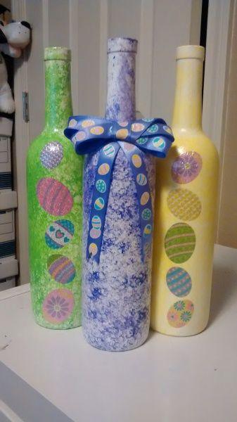 Easter Wine Bottle Set Easter Crafts Wine Bottle Crafts Bottle