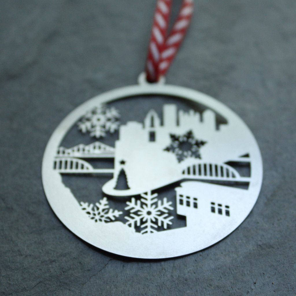 """My 2"""" Pittsburgh Skyline ornaments are made of stainless steel, which will not…"""